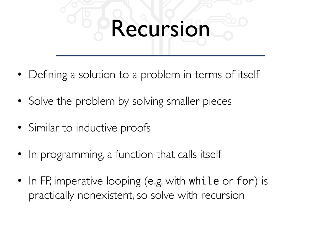 Recursion • Defining a solution to a problem in...