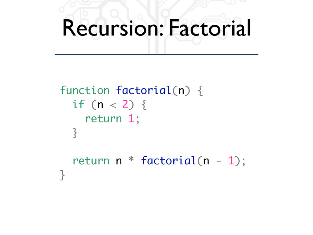 Recursion: Factorial function factorial(n) { if...
