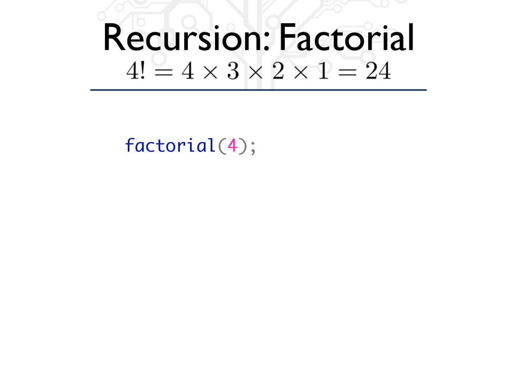 Recursion: Factorial factorial(4);