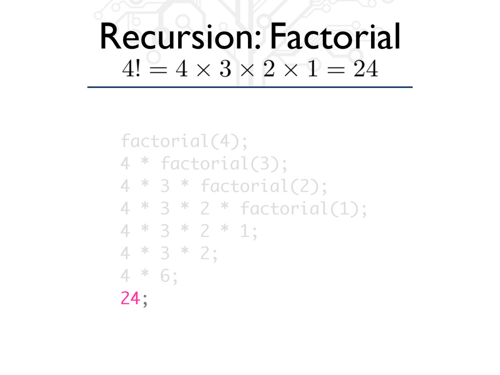 Recursion: Factorial factorial(4); 4 * factoria...