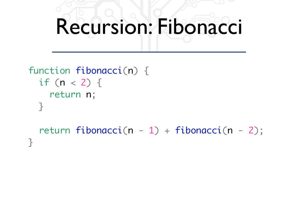 Recursion: Fibonacci function fibonacci(n) { if...