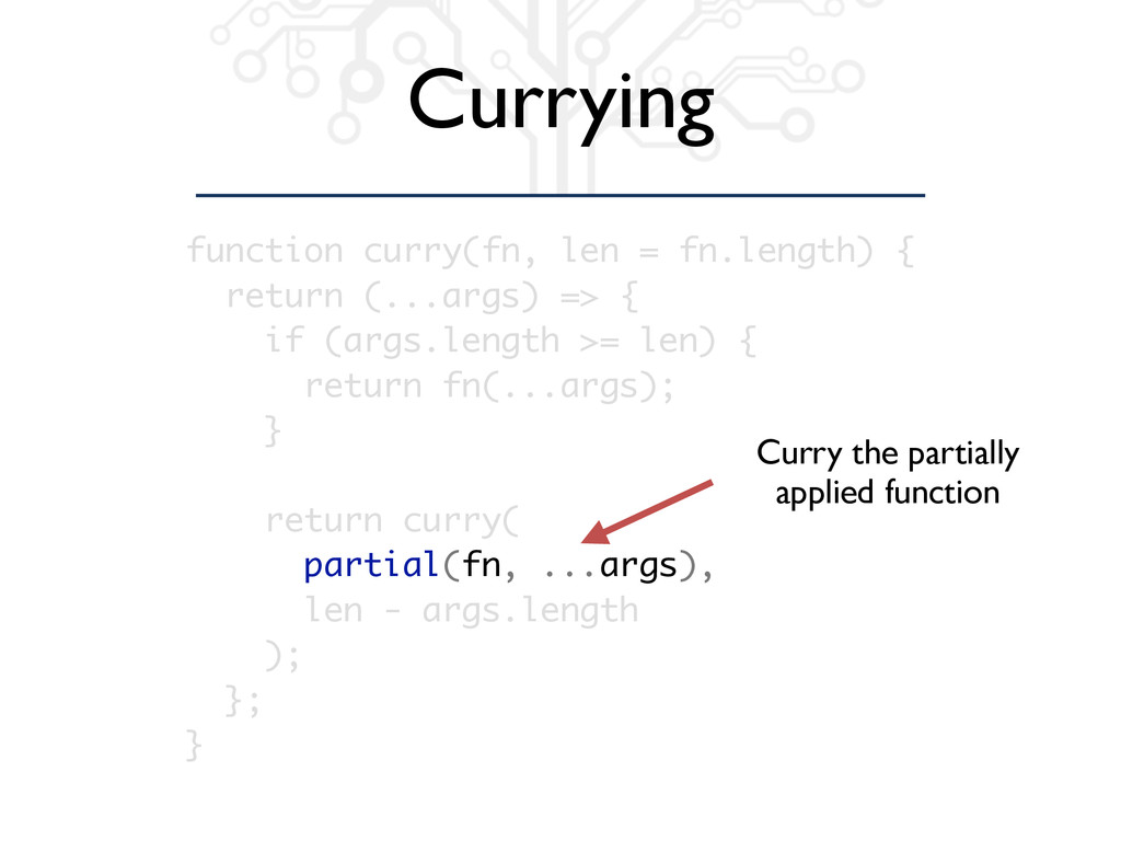 Currying function curry(fn, len = fn.length) { ...