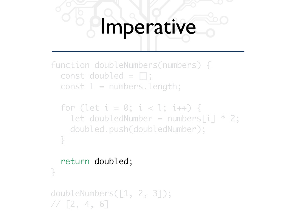 Imperative function doubleNumbers(numbers) { co...