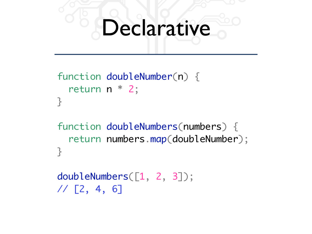 Declarative function doubleNumber(n) { return n...