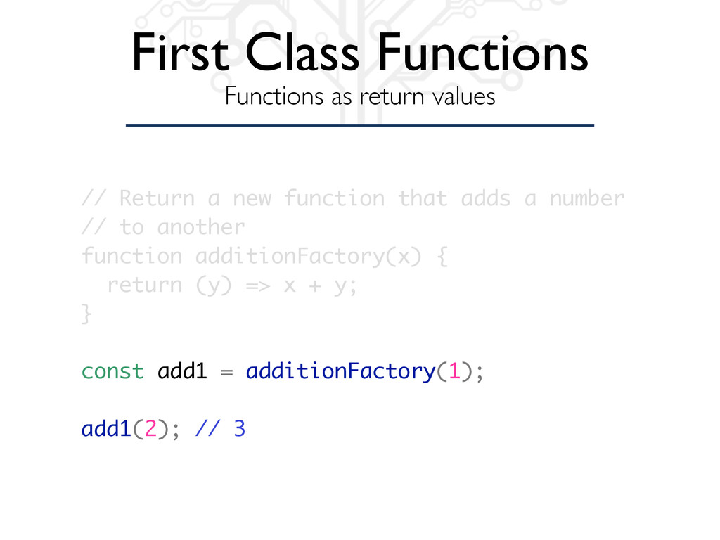 First Class Functions Functions as return value...