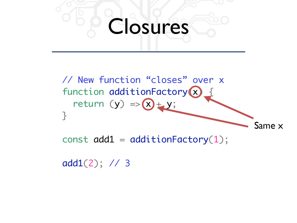 "// New function ""closes"" over x function additi..."