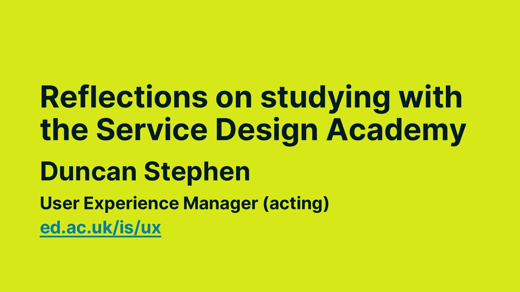 Duncan Stephen Reflections on studying with the...