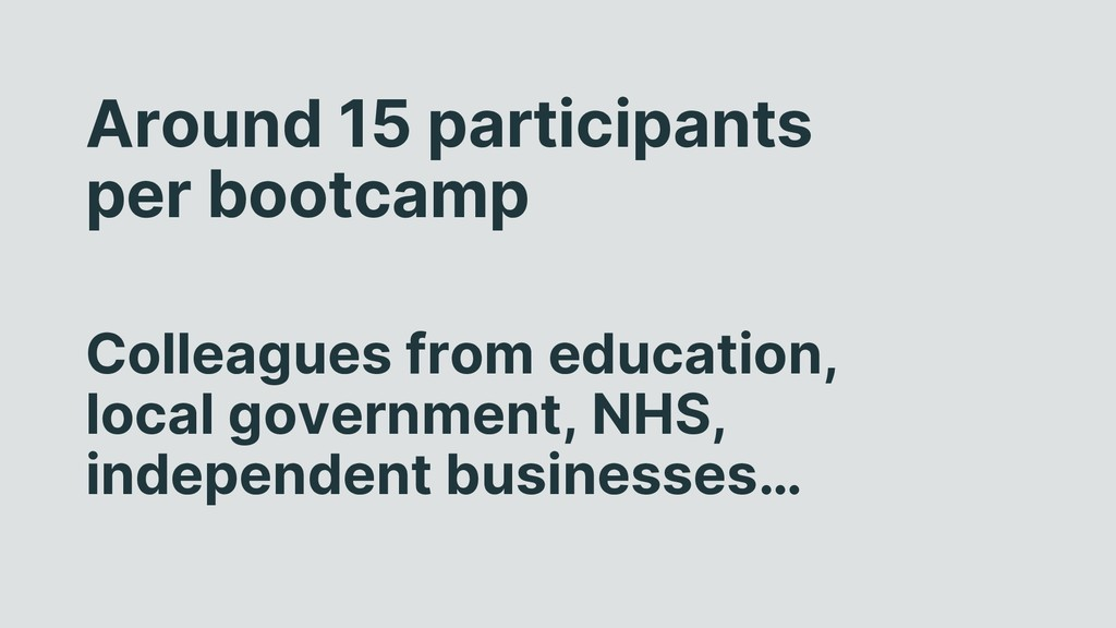 Around 15 participants per bootcamp Colleagues ...