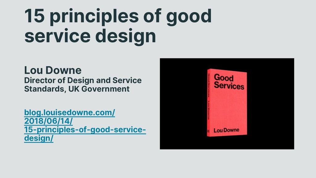 15 principles of good service design Lou Downe ...