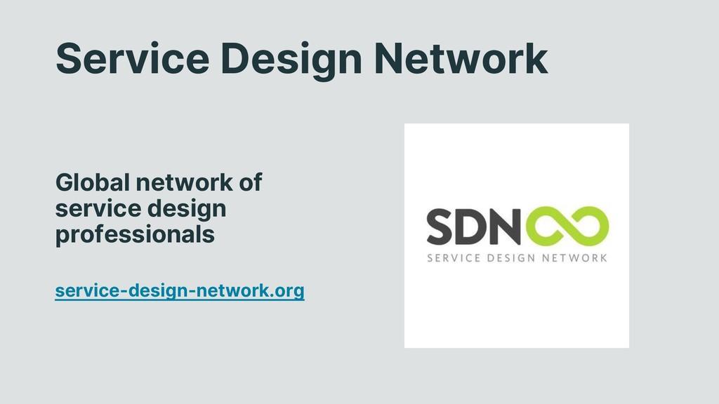 Service Design Network Global network of servic...