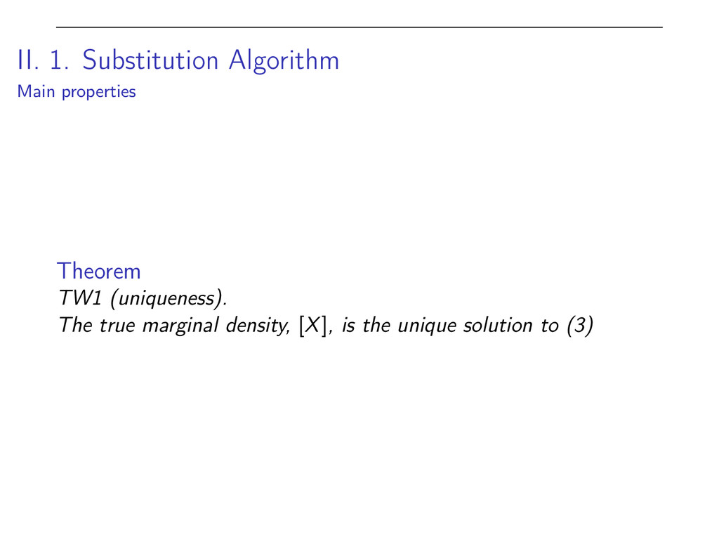 II. 1. Substitution Algorithm Main properties T...