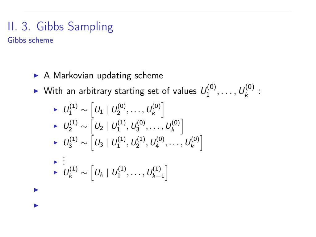 II. 3. Gibbs Sampling Gibbs scheme I A Markovia...