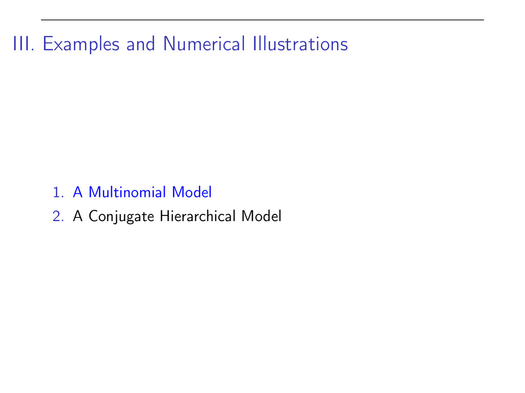 III. Examples and Numerical Illustrations 1. A ...