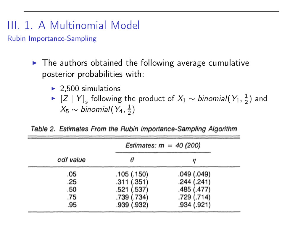 III. 1. A Multinomial Model Rubin Importance-Sa...