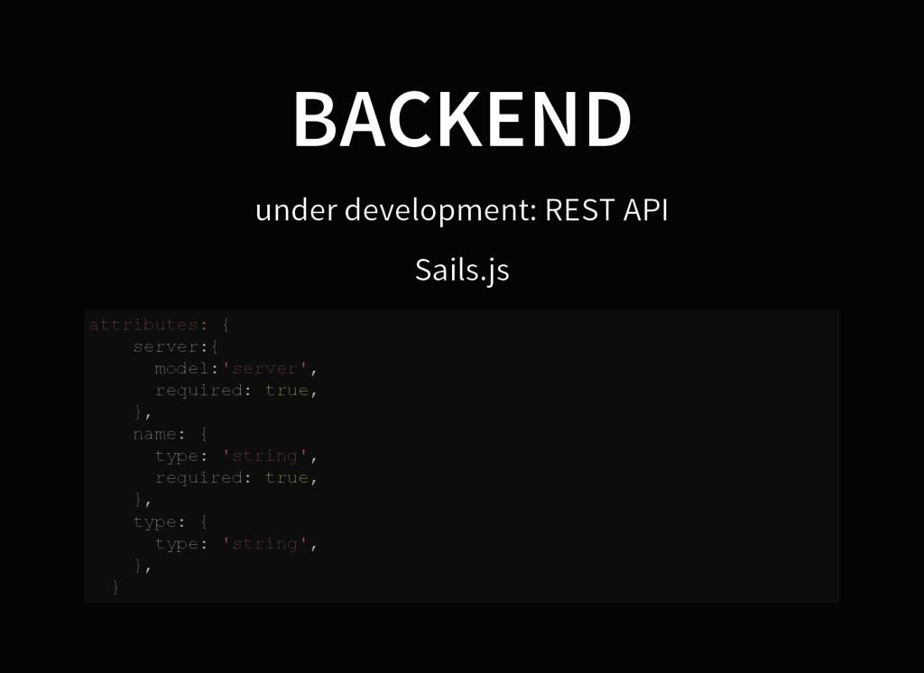 BACKEND under development: REST API Sails.js a ...