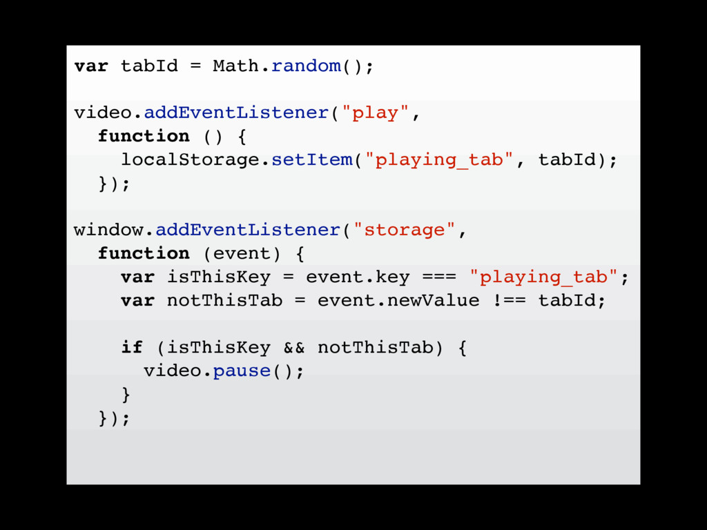 var tabId = Math.random(); video.addEventListen...