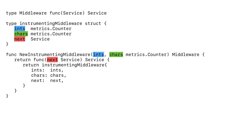 type Middleware func(Service) Service type inst...