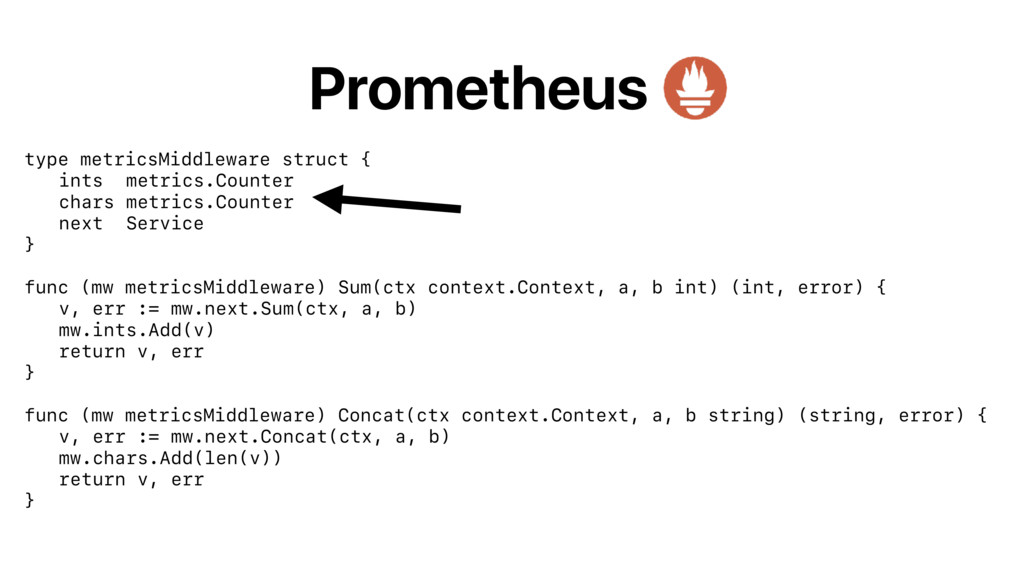 Prometheus type metricsMiddleware struct { ints...