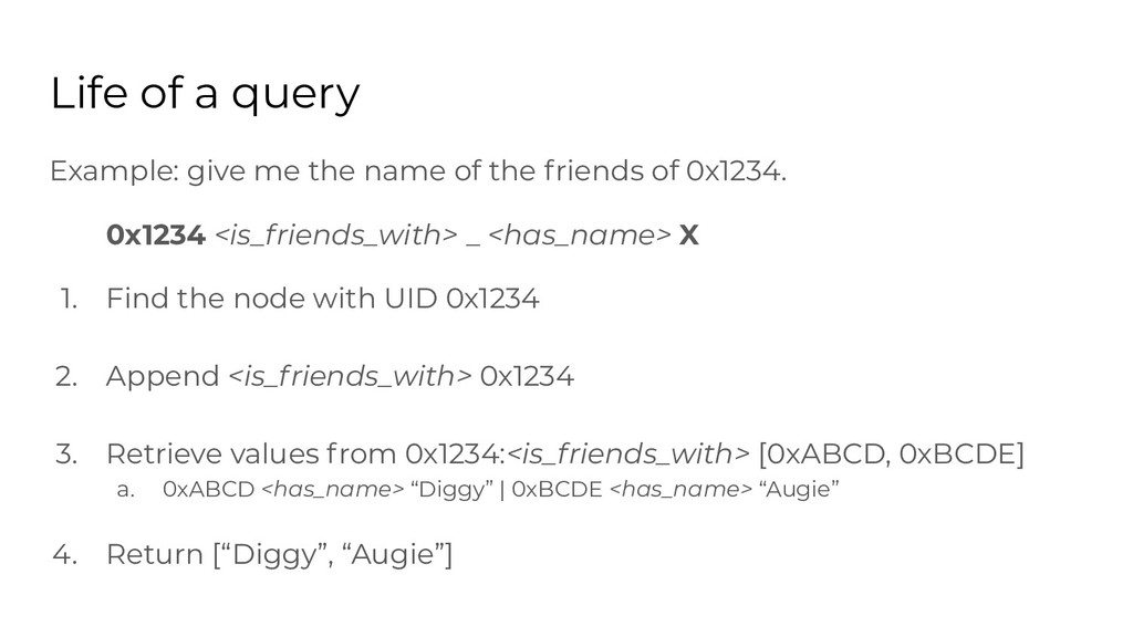 Life of a query Example: give me the name of th...