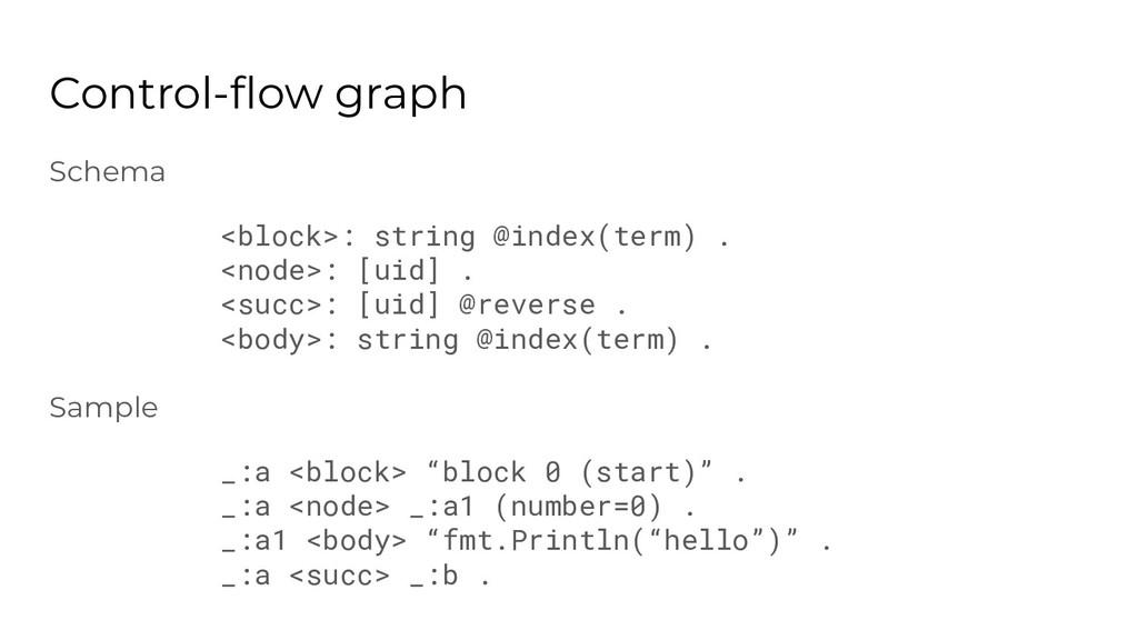 Schema <block>: string @index(term) . <node>: [...