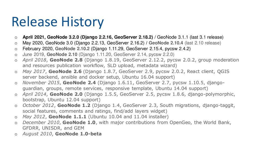 Release History o April 2021, GeoNode 3.2.0 (Dj...