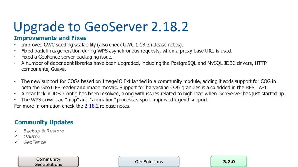 Upgrade to GeoServer 2.18.2 Community GeoSoluti...