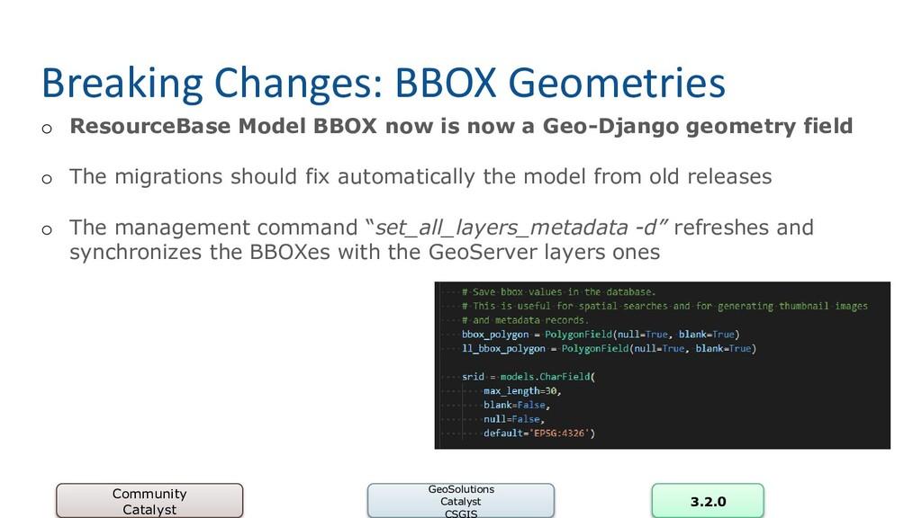 Breaking Changes: BBOX Geometries o ResourceBas...