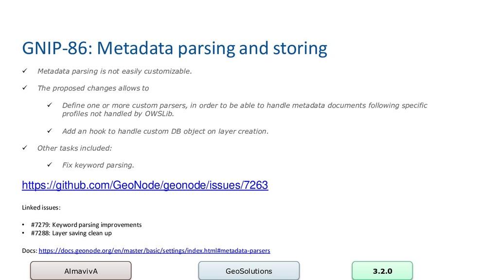 GNIP-86: Metadata parsing and storing AlmavivA ...