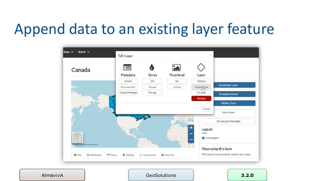 Append data to an existing layer feature Almavi...