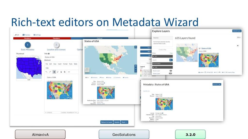 Rich-text editors on Metadata Wizard AlmavivA G...