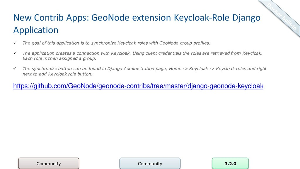 New Contrib Apps: GeoNode extension Keycloak-Ro...