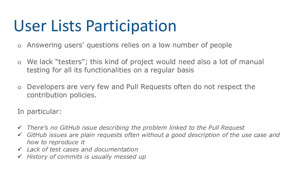 User Lists Participation o Answering users' que...