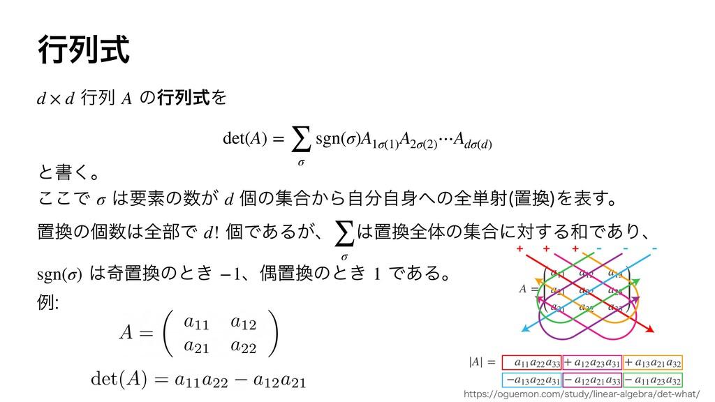 ߦྻࣜ ߦྻ ͷߦྻࣜΛ d × d A det(A) = ∑ σ sgn(σ)A1σ(...