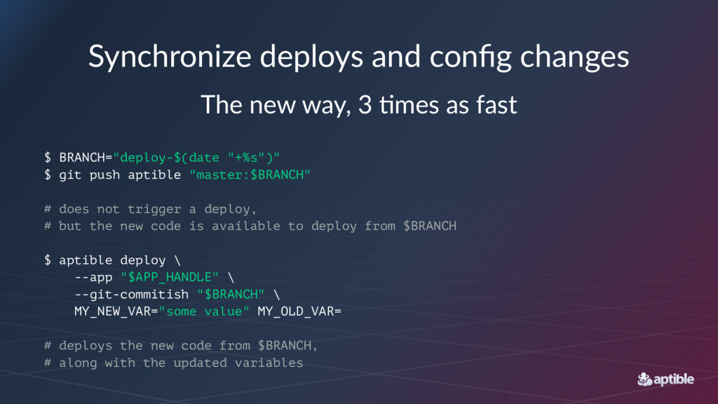 Synchronize deploys and config changes The new w...