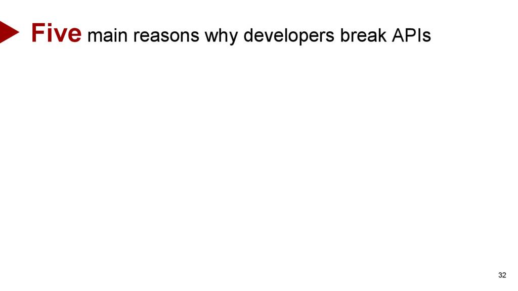 32 Five main reasons why developers break APIs