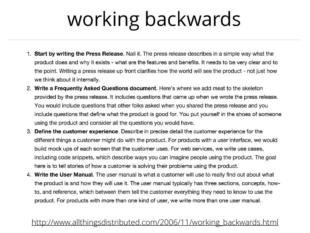 working backwards http://www.allthingsdistribut...