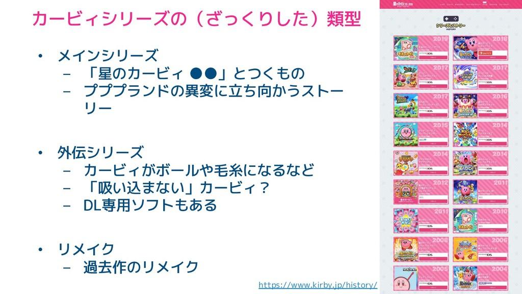 カービィシリーズの(ざっくりした)類型 https://www.kirby.jp/histor...