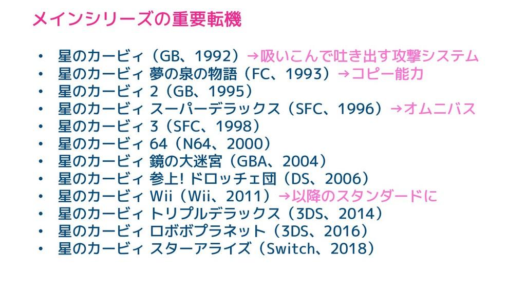 メインシリーズの重要転機 • 星のカービィ(GB、1992)→吸いこんで吐き出す攻撃システム ...