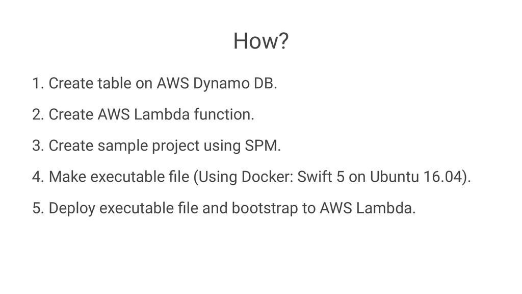 How? 1. Create table on AWS Dynamo DB. 2. Creat...