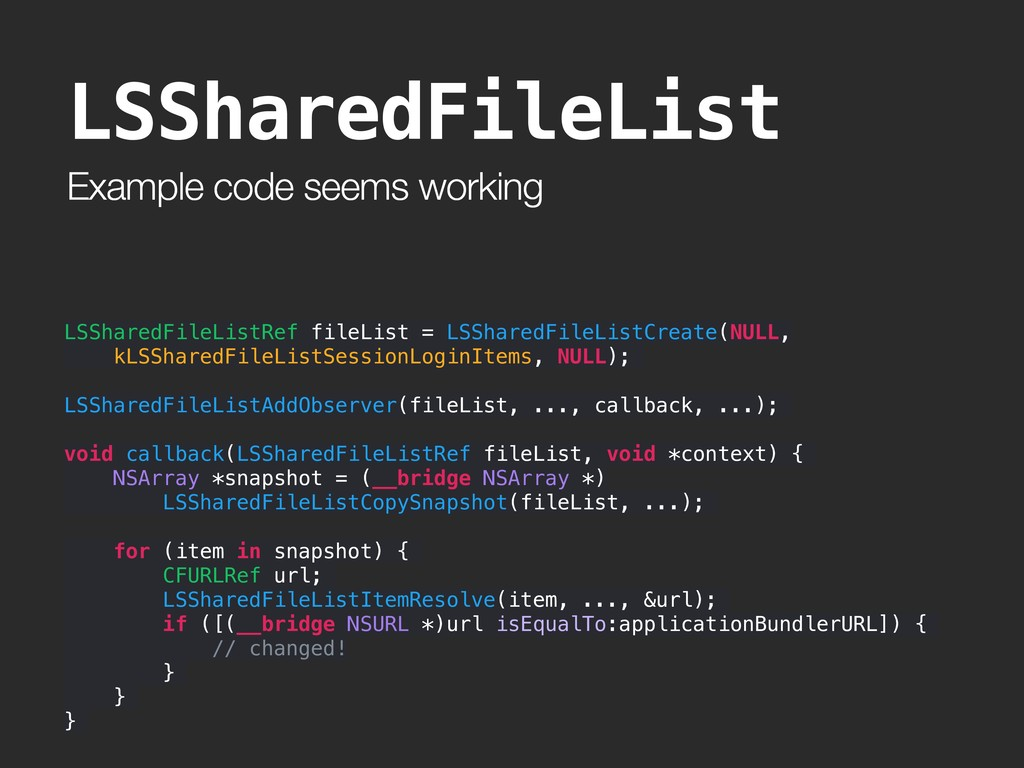 Example code seems working LSSharedFileList LSS...