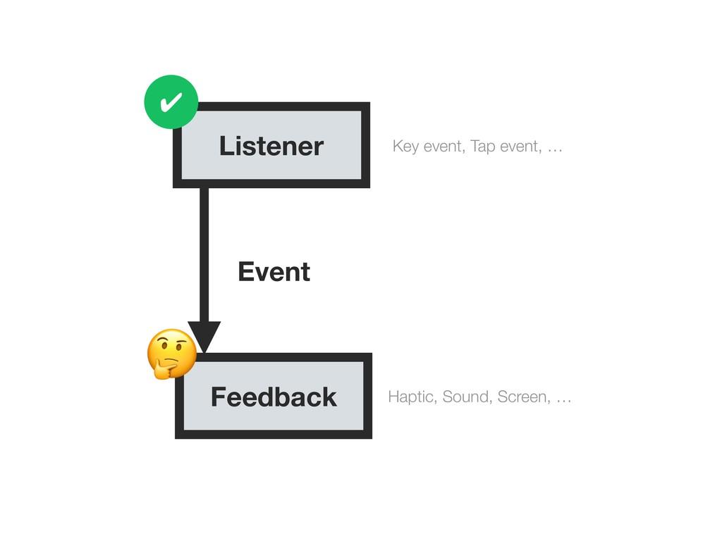 Listener Feedback Key event, Tap event, … Hapti...
