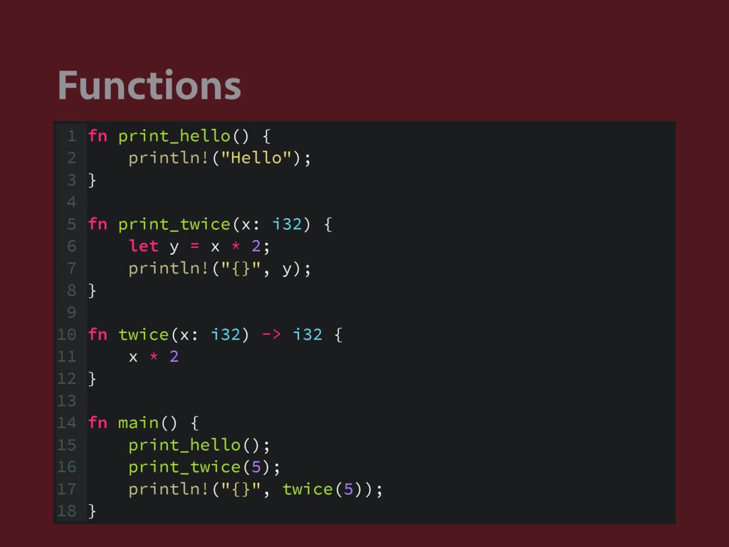 "Functions 1 fn print_hello() { 2 println!(""Hell..."
