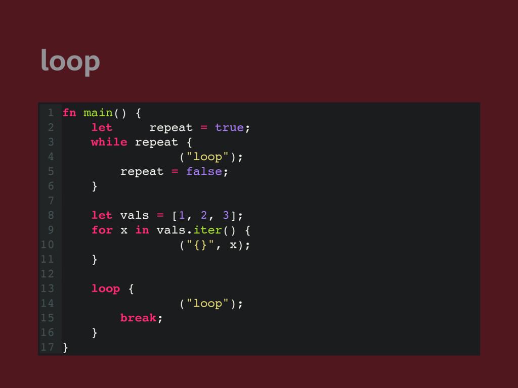 loop 1 fn main() { 2 let mut repeat = true; 3 w...