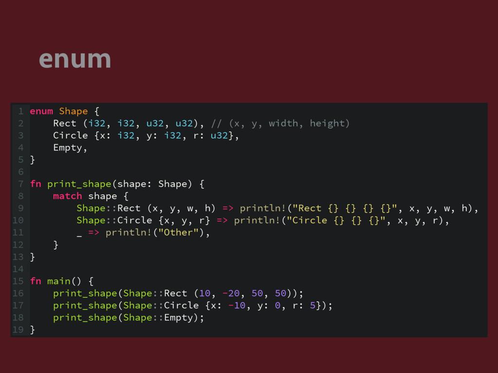 enum 1 enum Shape { 2 Rect (i32, i32, u32, u32)...