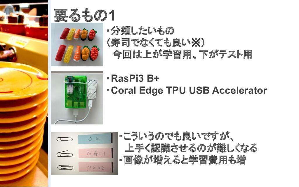 要るもの1 ・分類したいもの (寿司でなくても良い※)  今回は上が学習用、下がテスト用 ・R...