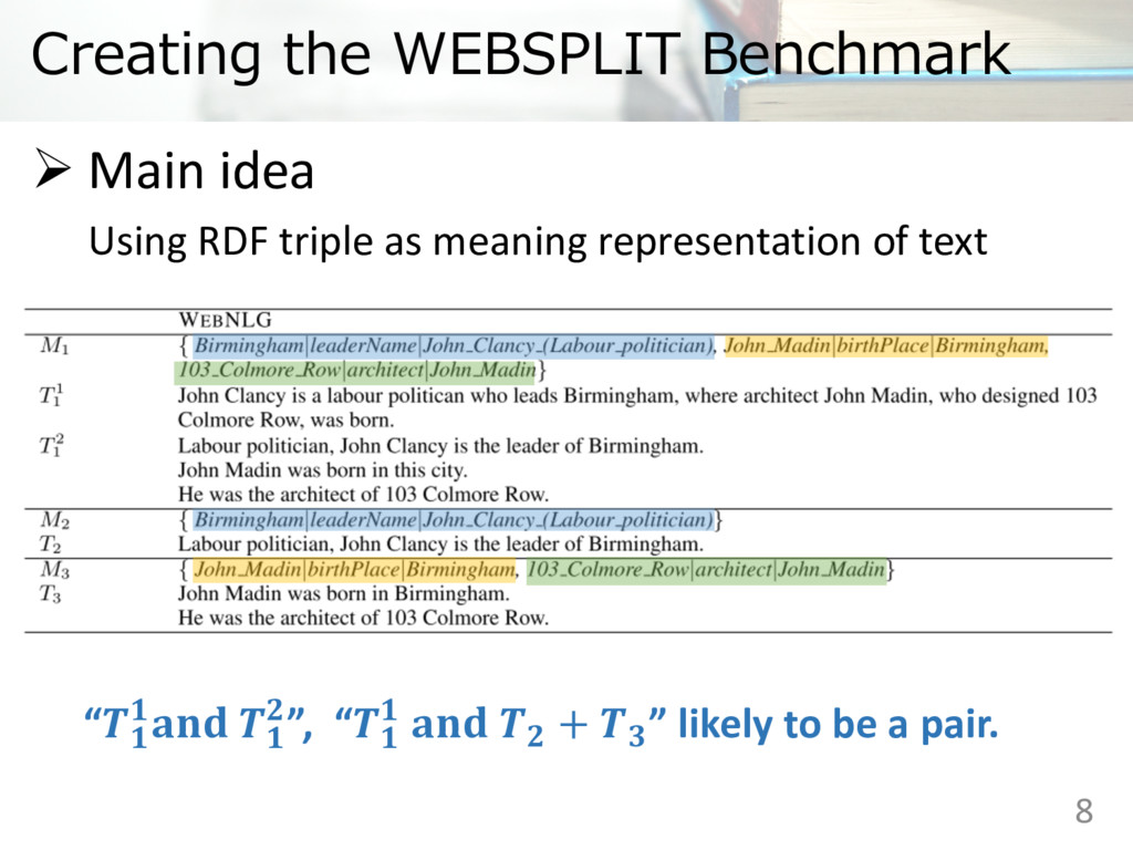Creating the WEBSPLIT Benchmark Ø Main idea Usi...