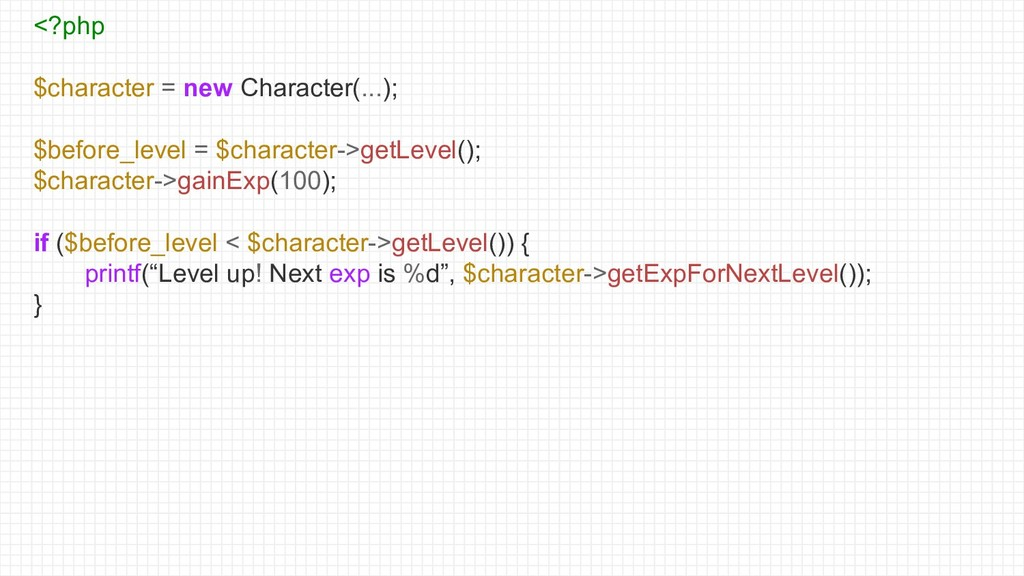 <?php $character = new Character(...); $before_...