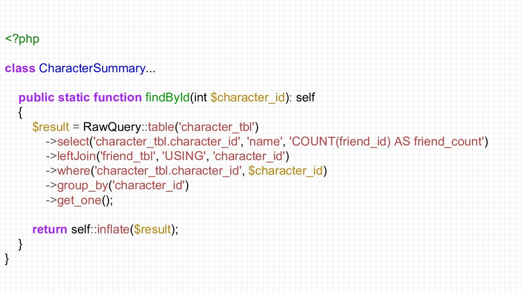 <?php class CharacterSummary... public static f...