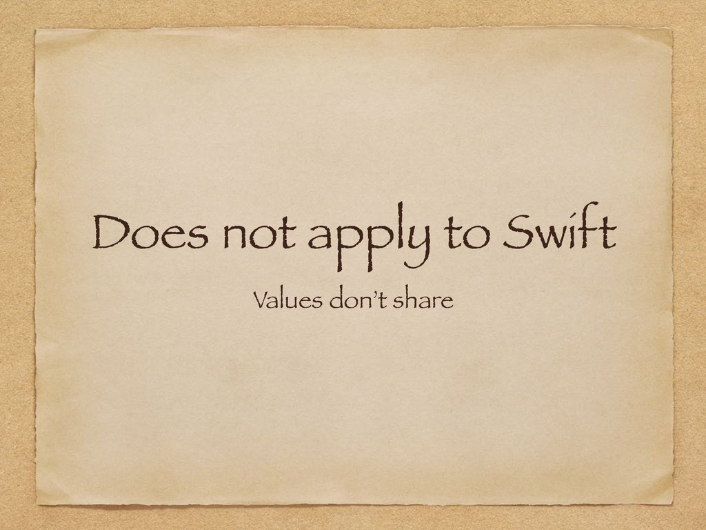 Does not apply to Swift Values don't share