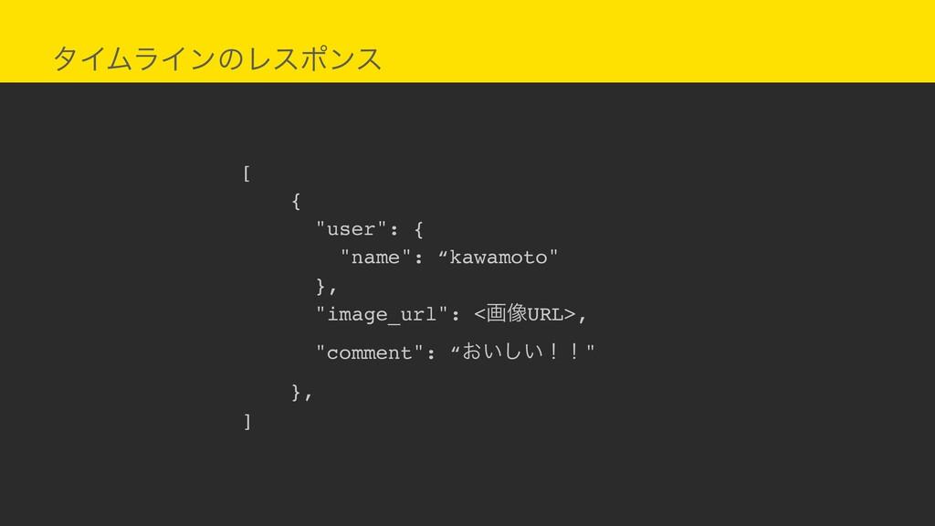 """λΠϜϥΠϯͷϨεϙϯε [ { """"user"""": { """"name"""": """"kawamoto"""" }..."""